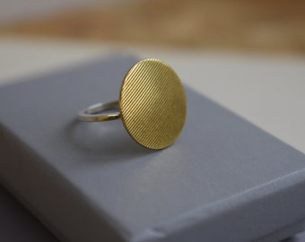 Statement Circle ring in Brass and sterling Silver