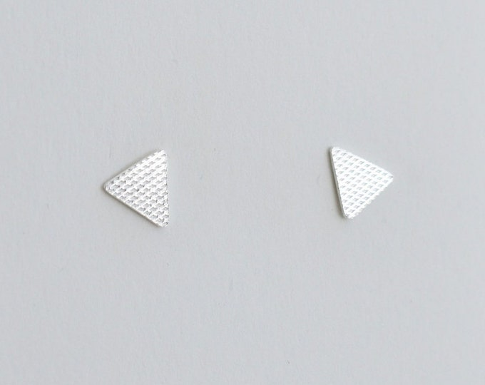 Featured listing image: Textured mini triangle studs. Sterling Silver