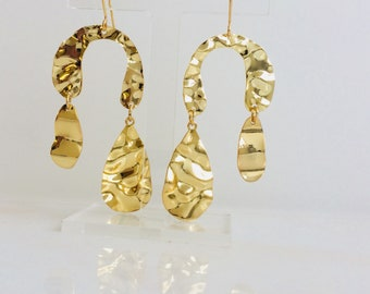 Gold Plated Wavey Statement Earrings