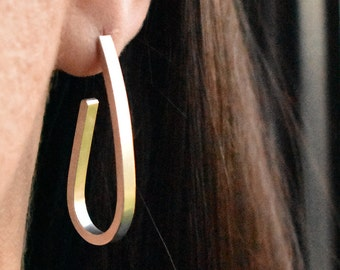 Long and chunky Sterling silver 925 hoop statement earrings. Handmade