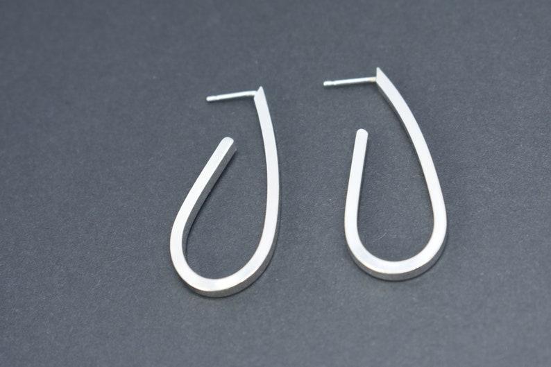 Long and chunky Sterling silver 925 hoop statement earrings Handmade