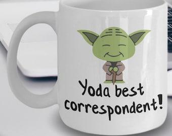 Correspondent Mug - Funny Correspondent Mug - Yoda Best Correspondent Gifts - Star Wars Mug - Yoda Best Correspondent Pun Mug
