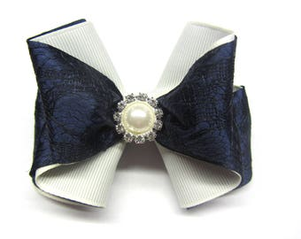 Navy blue bow Hair bow for girls hair bows Girls lace bow Back to school Girls hair clip First day of school Hair bows for teens Blue bow