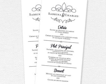 Wedding menu, Custom Menu printable Menu, wedding Menu printable, printable (#03) wedding stationery