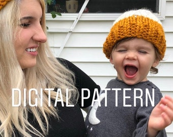 3596ef1dcd3 Knitting Pattern Mommy and Me Hat Pattern