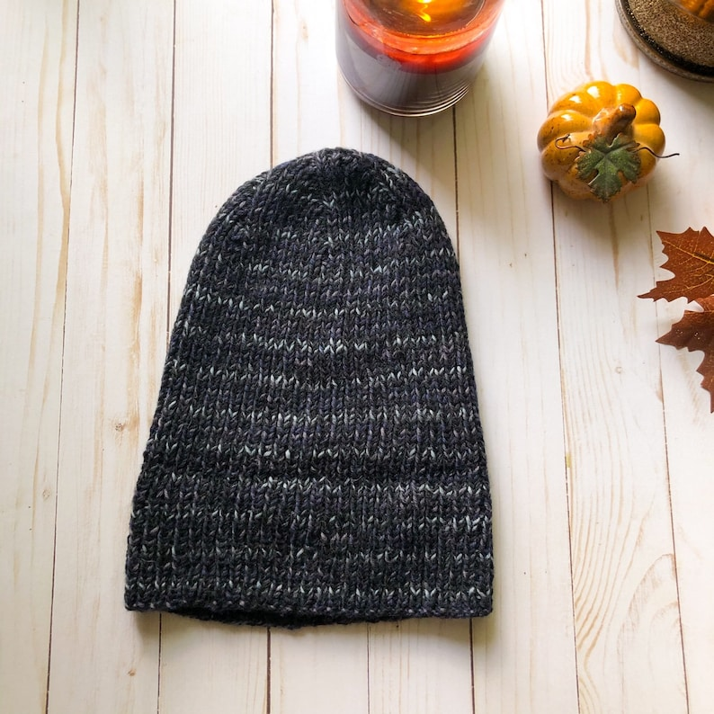 Women/'s Gray and Black Knit Hat Gray Knit Beanie Winter and Fall Gray Hat