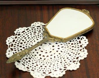 Antique Vintage Brass Hand Mirror Flower Motif Ladies' Vanity
