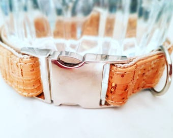 Natural Golden Cork Collar with metal buckle for Dog
