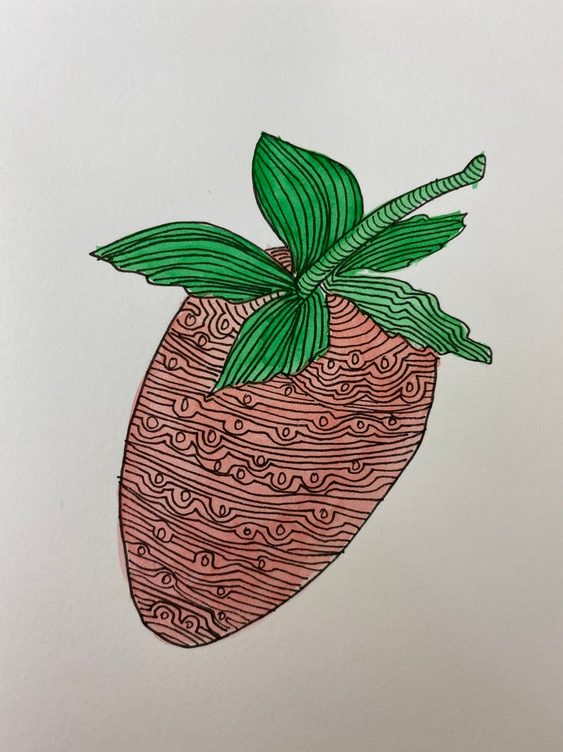 Hand painted original watercolour Strawberry art card with fine lines by Leah at Lovemyartdotcom