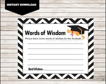 graphic regarding Free Printable Graduation Advice Cards named Graduate guidance tag Etsy