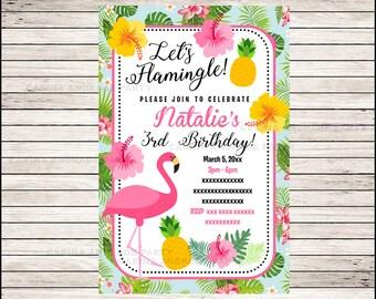 Flamingo invitation; Pineapple Birthday invitation, Pink Party Pool party Invitation Digital File