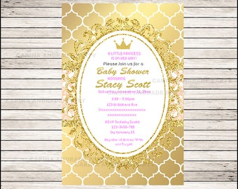 Royal Princess Baby Shower Invitation, Pink Gold, Glitter, Crown