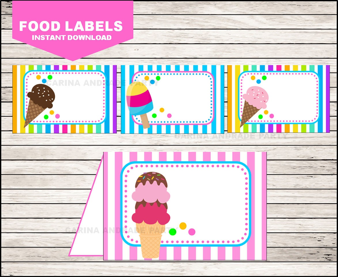 ice cream food labels instant download ice cream tent cards | etsy