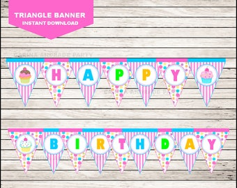Cupcakes Triangle Banner instant download, Cupcakes Banner, Cupcakes Party Banner