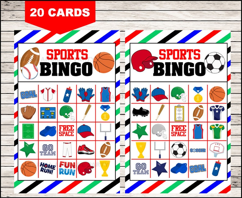 picture about Free Printable Football Bingo Cards identified as Athletics Bingo 20 playing cards, printable Sports activities Bingo playing cards, Sports activities Bingo playing cards
