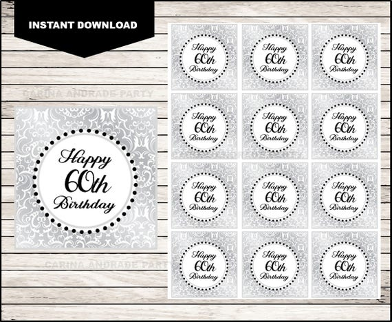 graphic regarding Printable Sticker Labels known as 60th Birthday Printable Cupcake toppers Sticker labels and Reward tags, silver cupcakes toppers fast obtain