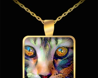 Cat Pendant, Cat Necklace, Cat Jewelry, Cat Mom Gift, Cat Lovers Gift, Gold Plated Cat Pendant, Kitten, Resin Pendant, Gift for Cat Mom