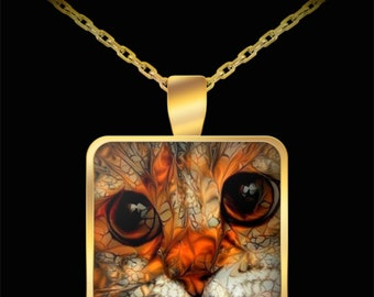 Gold Cat Necklace, Cat Lovers Jewelry, Cute Cat Pendant, Cat Gift, Cat Necklace, Gold Plated Cat Necklace, Cat Mom Gift, Watercolor Cat