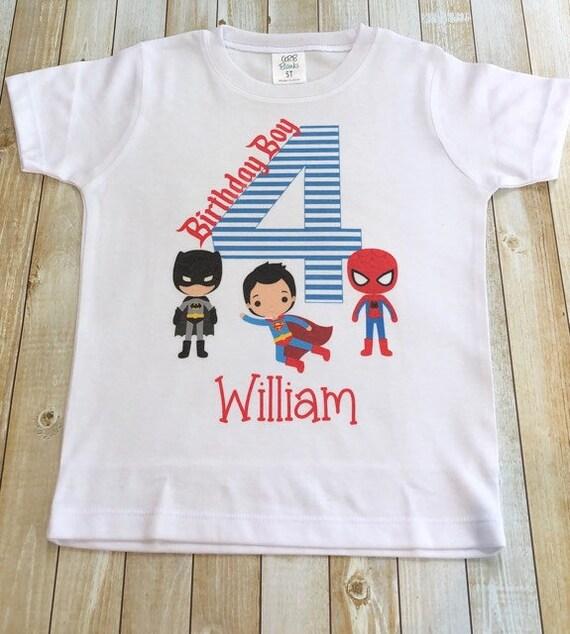 Personalize Batman Superman Birthday Shirt