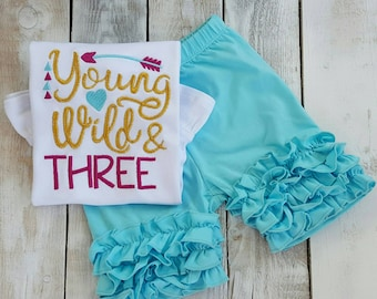 Young Wild and Three Birthday Shirt, Sample Sale, gold embroidery third birthday outfit, ruffled shirt shorts hairbow, baby sister princess