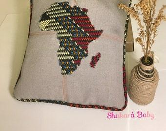 Ankara decorative pillow cover-AFRICA MAP appliqué
