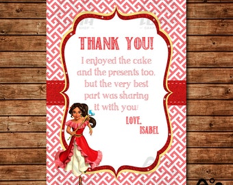 Elena Birthday Thank You, Elena Birthday, Disney Princess Thank You, Princess Birthday Thank You, Elena of Avalor Thank You