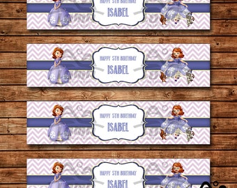 Sofia the First Birthday Water Bottle Label, Sofia Birthday, Disney Princess Water Bottle Label, Sofia the First, Sophia