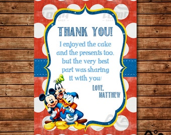 Mickey Mouse Birthday Thank You, Mickey Mouse Birthday, Disney Thank You, Mickey Birthday Thank You, Mickey Mouse