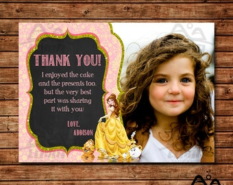 Belle Birthday Thank You, Belle Birthday, Disney Princess Thank You, Princess Birthday Thank You, Beauty and the Beast