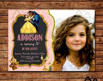 Belle Birthday Invitation, Belle Birthday, Disney Princess Invitation, Princess Birthday Invitation, Beauty and the Beast