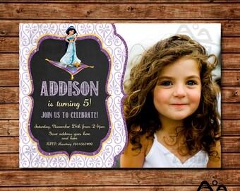Aladdin Birthday Invitation, Jasmine Birthday, Disney Princess Invitation, Princess Birthday Invitation, Aladdin, Jasmine
