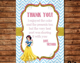 Snow White Birthday Thank You, Snow White Birthday, Disney Princess Thank You, Princess Birthday Thank You, Snow White and Seven Dwarfs