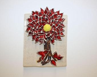 Beautiful hand made ceramic flower wall plaque