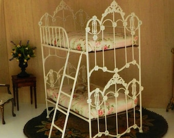 "Dollhouse Miniature Bunk Bed ""MARIGOLD"" 1:12 Scale,  Half Scale, Artisan Made"