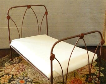 """Dollhouse Miniature Iron Bed """"Abbey"""" 1:12 Scale Twin and Full, Half Scale"""