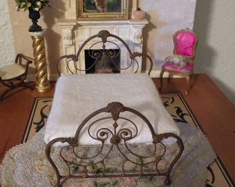 "Dollhouse Miniature Wrought Iron Bed ""GRACELYNNE"" 1:12 Scale Twin and Full, Half Scale"