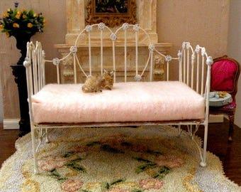 "Dollhouse Miniature Daybed ""CAROLINE"" 1:12 Scale, Half Scale, Artisan Made"