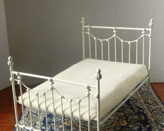 """Dollhouse Miniature Wrought Iron Bed """"SEPTEMBER"""" 1:12 Scale Twin and Full, Half Scale"""