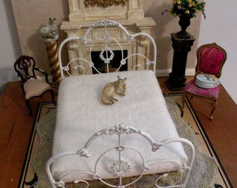 "Dollhouse Miniature Wrought Iron Bed ""WILLOW"" Artisan Made 1:12 Scale Twin and Full, Half Scale"
