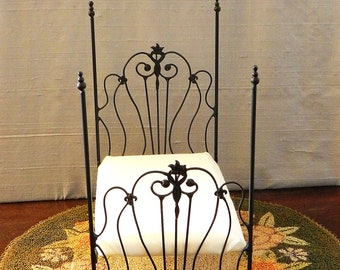 """Dollhouse Miniature Wrought Iron Bed """"NINA"""" Artisan Made 1:12 Scale Twin and Full, Half Scale"""