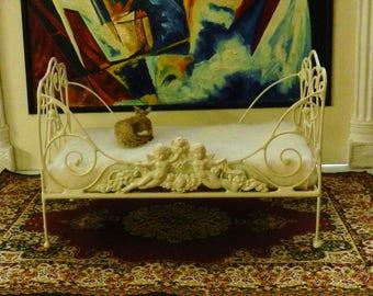 "Dollhouse Miniature Iron Daybed ""CHANTAL CHERUB"" 1:12 Scale, Half Scale"