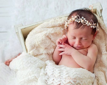 Fresh Water Pearl Baptism Headband, Pearl Flowergirl Hairpiece, Baby Headband, Baby Hairbow, Floral crown, Newborn Tiara, Baby Halo