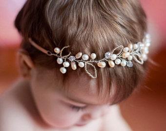 Pearl Flowergirl Hairpiece, Baby Headband, Fresh Water Pearl Baptism Headband, Baby Hairbow, Baby crown, Newborn Tiara, Baby Accessory, Halo