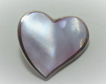 Sterling Silver Big Pink Heart gemstone Pendant