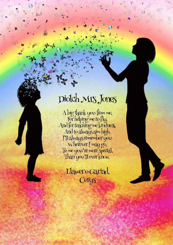 Welsh Thank You Teacher Gift, Childminder Gift, Personalised Welsh 'Diolch'  poem gift, Welsh Teacher Gifts, Teacher Appreciation Gift
