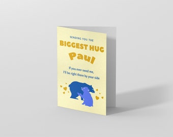Friendship Hug Card, Personalised Thinking Of You Card, Mental Health Card, Virtual Hug Support Card, Here for you gift, Card for depression