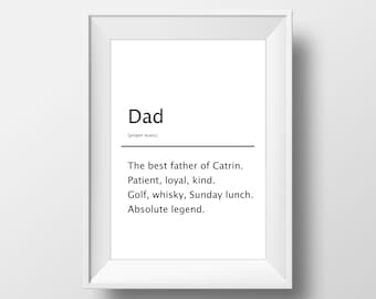 Gift for Dad, Birthday Gift for Grandad, Personalised Dad Gift, Gift for Dad, Definition Print Wall Art, Dad Definition Print