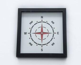 Compass   3D Stencil Art   Shadow Box