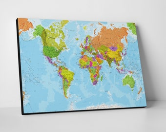 Colourful world map etsy canvas world map colourful detailed physical world map gumiabroncs Gallery