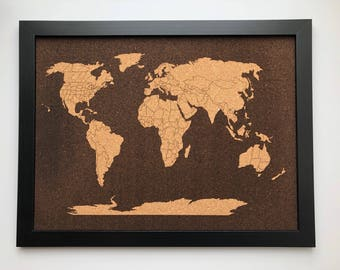 Items similar to vintage world travel map cork push pin hanging kit framed inverse world map on cork gumiabroncs Image collections